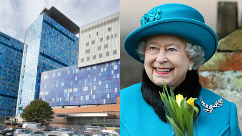The new Royal London Hospital and the Queen. Pictures: Royal London Hospital and Press Association.