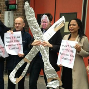 Tower Hamlets politicians protest against the Mayor's cuts.