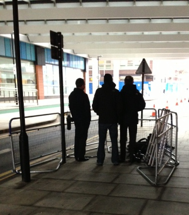 Photographers await the Queen's arrival at the Royal London Hospital, Stepney Way. February 2013
