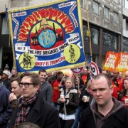 Fire Brigade Union protesters. Pic: Duncan Cumming