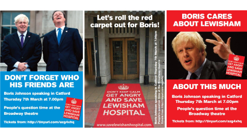 Boris Johnson. Pic: Save Lewisham A&amp;E campaign