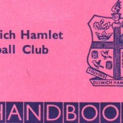 Cover of Dulwich Hamlet Handbook for season 1968-69 and feature the famous pink and blue colours of the team's shirts