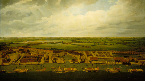 Painting of the old Deptford Dockyard- the site of Convoys Wharf by Joseph Farington from a collection in the National Maritime Museum.