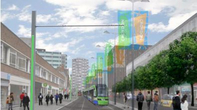 The plans include moving the tram stop along George Street closer to Wellesley Road Pic: Croydon Council
