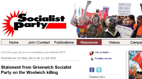 Greenwich Socialist Party accusing right wing extremists of cynical exploitation.
