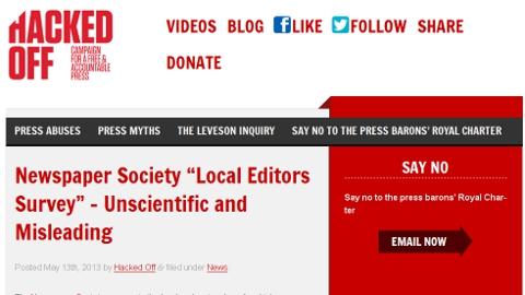 Lobbying group attacking Newspaper Society survey of local editors.