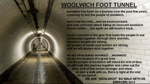"Woolwich Community message ""We are Woolwich so walk with us!"" Pic: Woolwich Community Facebook"