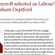Joan Ruddock's successor in Lewisham Deptford is Vicky Foxcroft