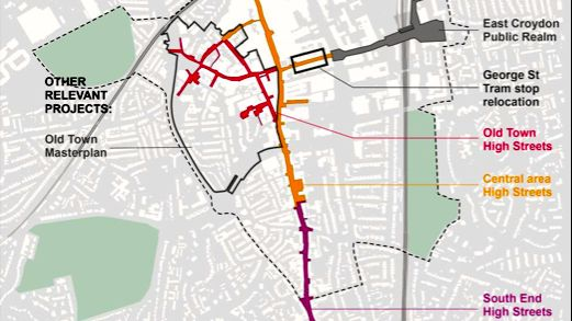 Map overview of where the regeneration plans are to take place Pic: Croydon Council