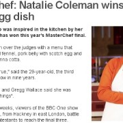 BBC Celebrates Hackney Masterchef winner 2013 Natalie Coleman.