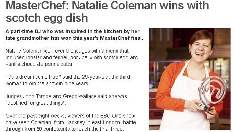 BBC Celebrates Hackney Masterchef winner 2013 Natalie Coleman.