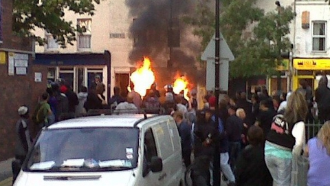 Pembury Road Hackney on the night of the riots August 2011