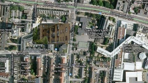 Location of suspicious death of pensioner, 88, Sonali Gardens, Sutton Street E1. Pic: Google