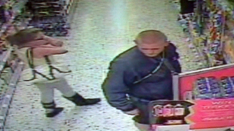 Still from CCTV shown to the Old Bailey jury of Tia Sharp and her step-grandfather Stuart Hazell shopping. Pic: Met Police