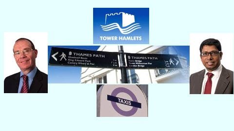 Tower Hamlets taxi row. Tory group leader Peter Golds left & Deputy Mayor Ohid Ahmed right
