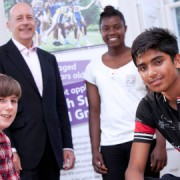 (Left to right) Cyclist Frank Moore, 13, Kayaker Vanessa Humphrey, 17, and cyclist Aminuor Islam, 15 pose with Hackney Mayor Jules Pipe. Photo: Gary Manhine