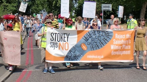 Demonstrators make their way down Rectory Road in Stoke Newington. Photo: Bill Konos.