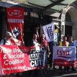 RMT and TSSA rail unions led the protest outside Whitechapel station. Photo: Bill Konos.