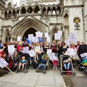 Campaigners celebrating outside the Hight Court after it declared Hunt's decision unlawful in July. Pic: SLH campaign