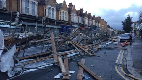 Cars trapped under fallen scaffolding on Francis Road, Hackney. Pic: Mark Davies