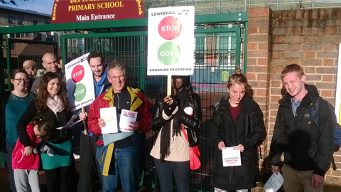 Picket line outside Deptford Park Primary School. Pic: Chris Dillon