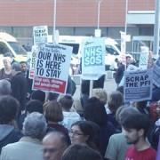 Protest at Royal London Hospital. Pic: Rob Winkel