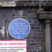The flying bomb plaque under the railway bridge under Grove Road. Pic: Tarquin Binary.