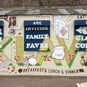 A Gourmandizing mural by Matthew McGuinness in Brixton.