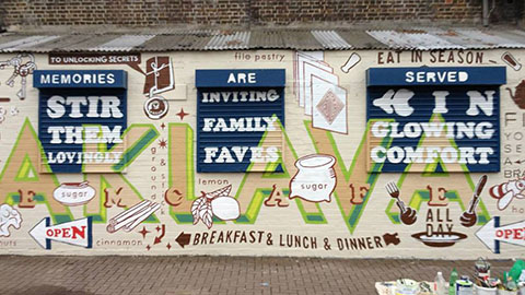 Gourmandizing mural, Sem cafe, Brixton, by Matthew McGuinness in Brixton.