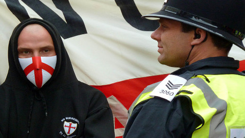 Police watch over EDL march. Pic: Gavin Lynn