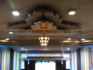 Futuristic flight... of democracy! Art deco ceiling design in the Troxy. Photo: John Wakefield