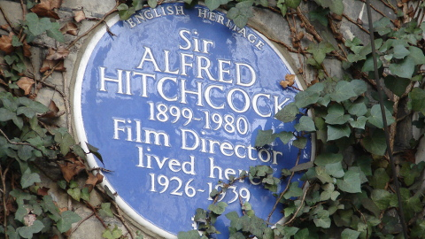 Alfred Hitchcock plaque in Kensington & Chelsea. Pic: Simon Harriyott