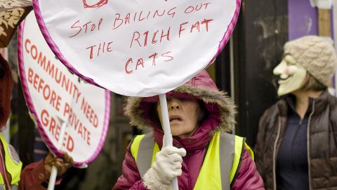 Protester on New Cross Road. Pic: Sara Pigozzo