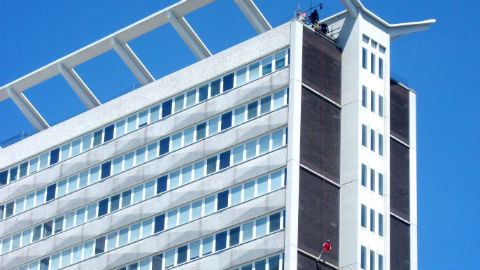 Abseiling off Lunar House Pic: John Grindrod