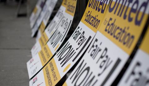 Placards at London Metropolitan University Pic: Sara Pigozzo