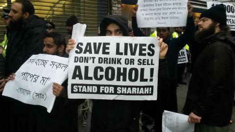 Shariah Project march through Brick Lane, Shoreditch Pic: Jack Simpson