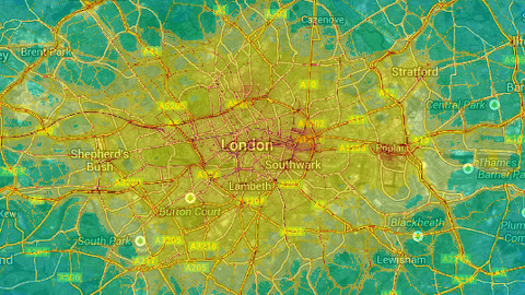 NO2 air pollution in London 2012 Pic: The London Air Quality Network at King's College London