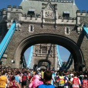 Participants head over London's iconic Tower Bridge and halfway Pic: Chris Isherwood