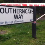 Southerngate Way cordoned off after shooting. Pic: Kathryn Sunnucks