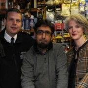 Inspector Simon Crick, Mr Waseem Butt and Cllr Sophie Linden Pic: Met Police