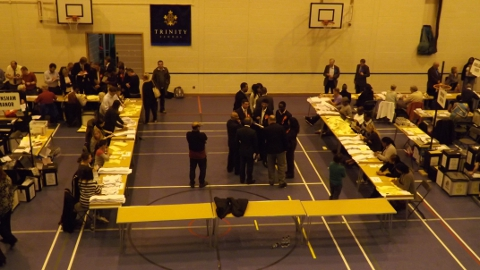 Candidates at Croydon count and waiting for the results. Photo: Sheila Smith
