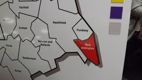 Croydon Map. New Addington goes Red. Photo Sheila Smith