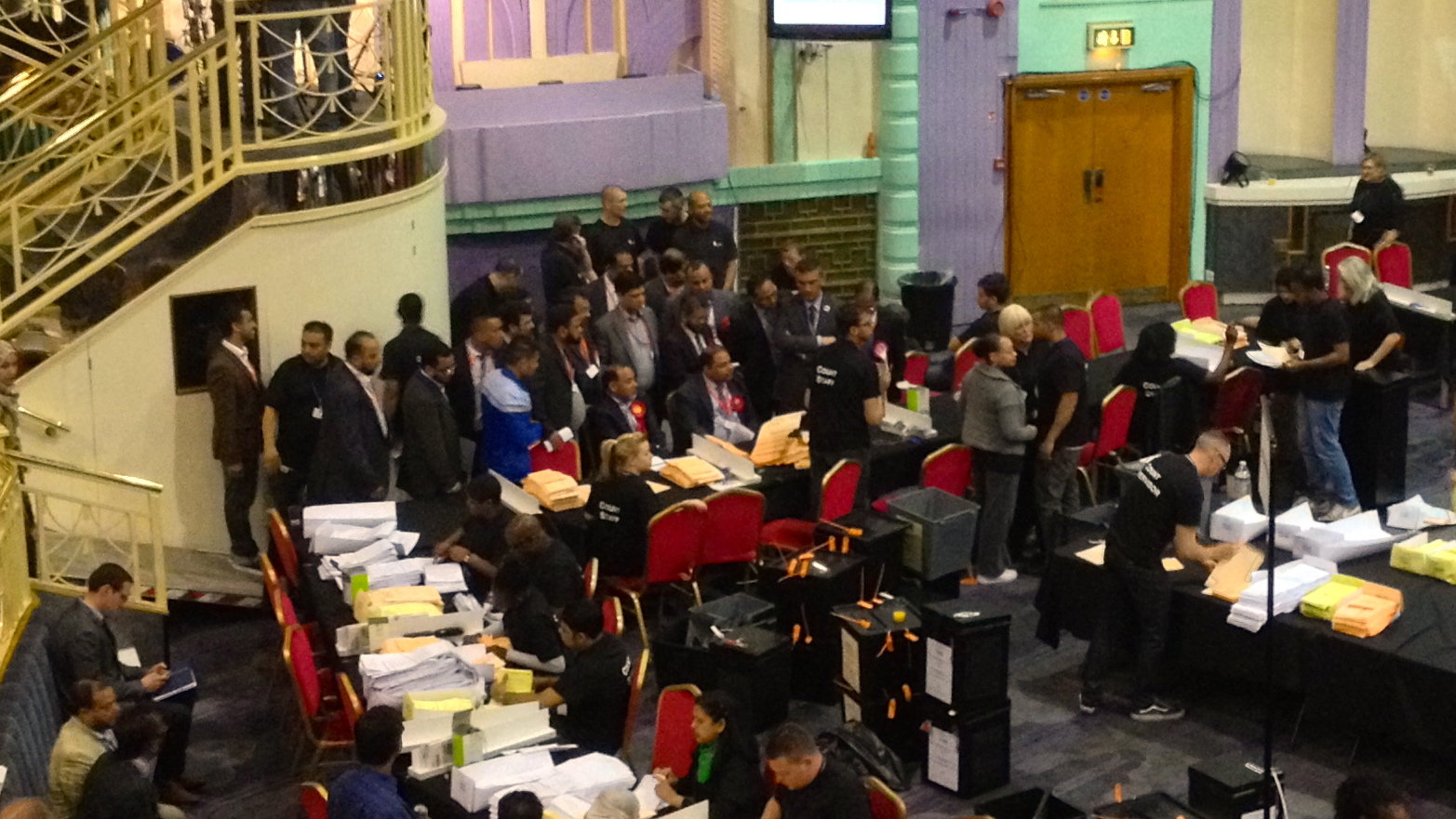 Labour supporters gathered around the count. Photo: Andy Goddard