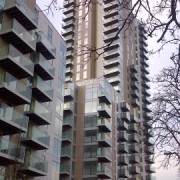 Photograph of flats for private sale on the regenerated Woodberry Down Estate