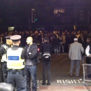 Crowd continue to wait in large numbers outside the Troxy. Photo: Andy Goddard.