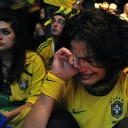 Tearful Brazilian fans Pic: Marcello Casal Jr