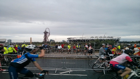 Cyclists gather at the start of the 86 mile 2014 RideLondon.  Pic: Matthew Newbrook