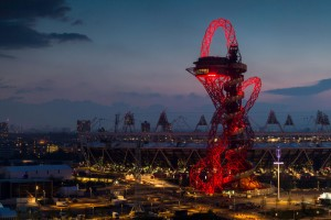 The sculpture at night Pic ArcelorMittal Orbit
