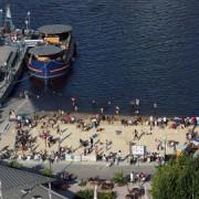 Victoria Dock's urban beach is still open for summer. Pic: Gareth Williams