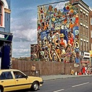 The newly completed Dalston Peace Carnival Mural in 1985. Pic: Alan Denney